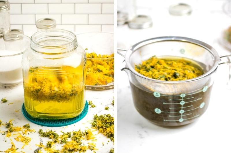 making dandelion tea and straining out the flowers