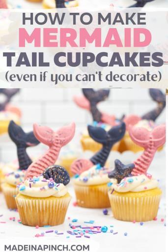 How to make mermaid tail cupcakes pin image
