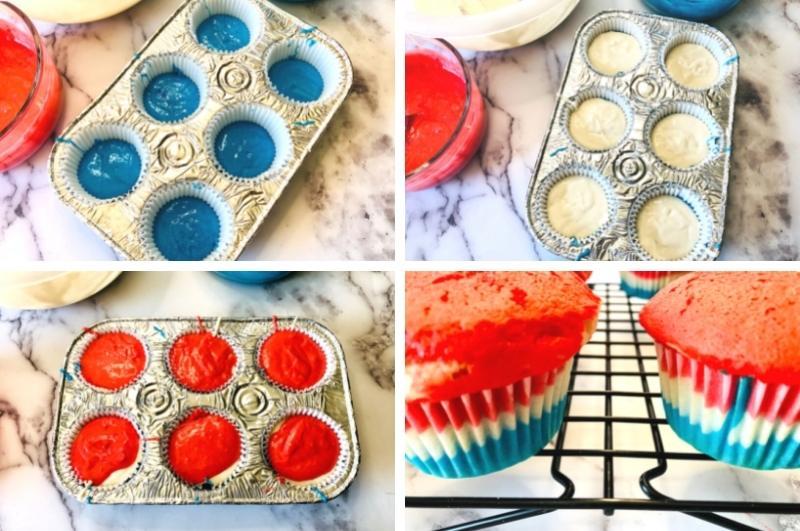 coloring cupcake dough process images