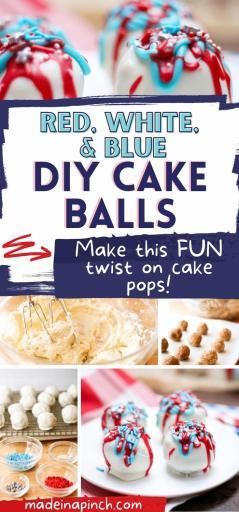 red, white, and blue DIY cake balls pin image