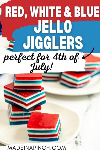 red white and blue jello squares pin image