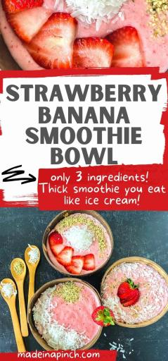 Strawberry banana smoothie bowl long pin