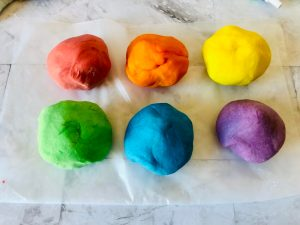 balls of rainbow playdough