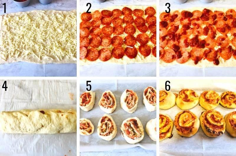 pizza pinwheels process collage