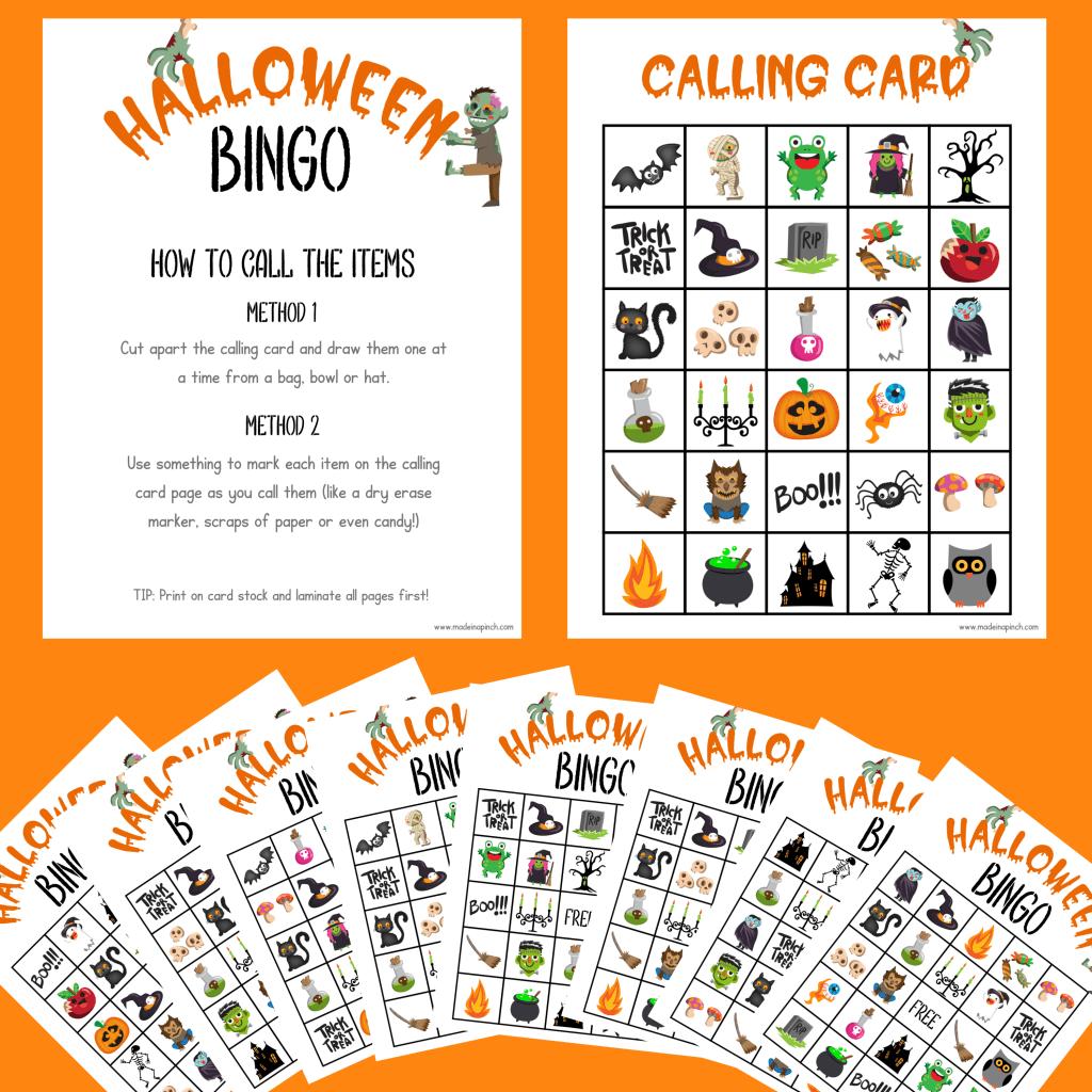 Halloween bingo cards mockup