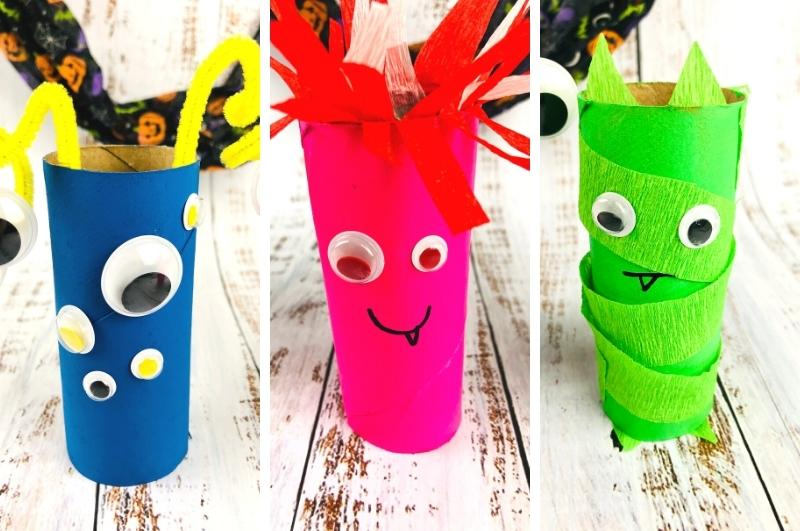toilet paper roll monsters collage