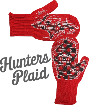 hunters plaid michigan mittens
