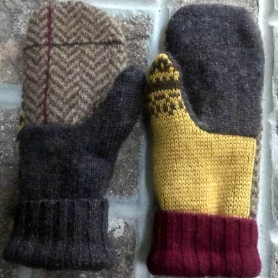 Brown and Gold Repurposed Wool Mittens