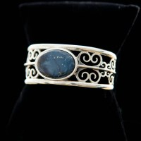 Oval Leland Blue Wide Cuff Bracelet Medium Blue