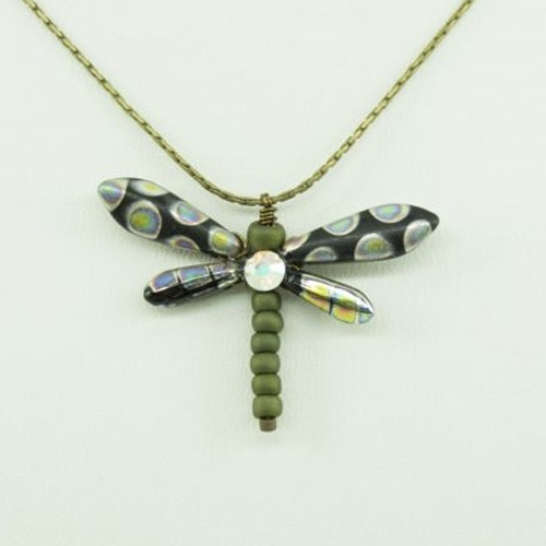 Black Peacock Baby Dragonfly Necklace