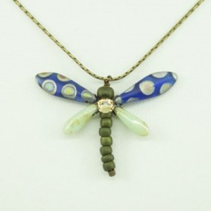 Blue Peacock and Mint Green Baby Dragonfly Necklace