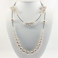 Long Lace Pearl Necklace