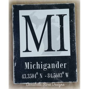Michigander Longitude & Latitude Word Art Sign