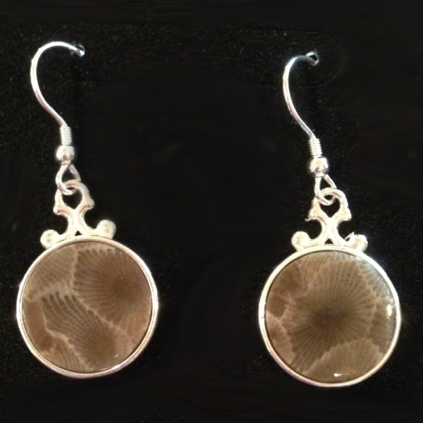 Round Petoskey Stone Earrings