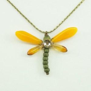 Sunset Orange Baby Dragonfly Necklace