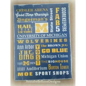 U of M~ University of Michigan Word Art Sign