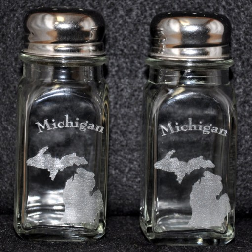 Laser Engraved Michigan Salt and Pepper Shakers