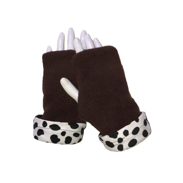 Cheetah Dalmatian Fingerless Gloves brown with dalmatian cuff
