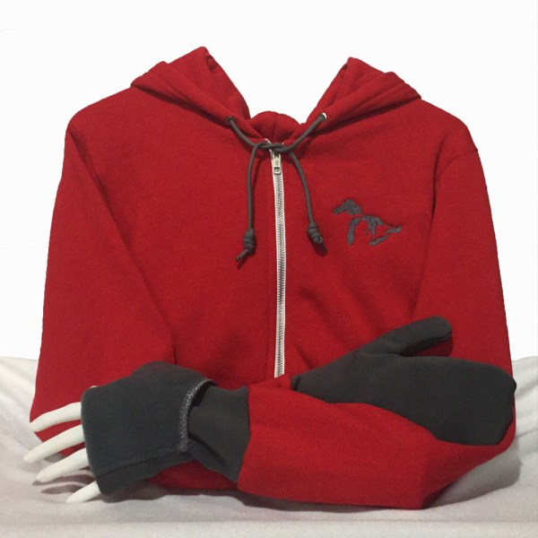Great Lakes Hoodie with Convertible Turtle Flip Mittens Red with Grey