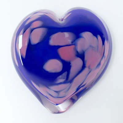 Larkspur Blown Glass Heart Paperweight