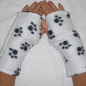 Puppy Paw Dalmatian Reversible Fingerless Gloves