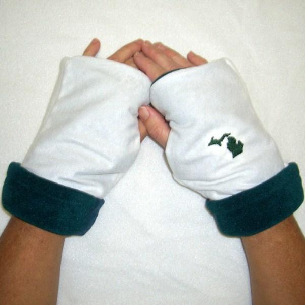 Green White Reversible Fingerless Gloves