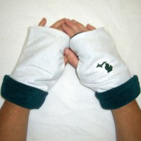 Green White Reversible Fingerless Gloves