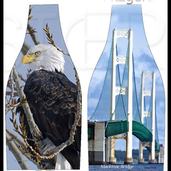 Eagle In Tree - Bright Mackinac Bridge