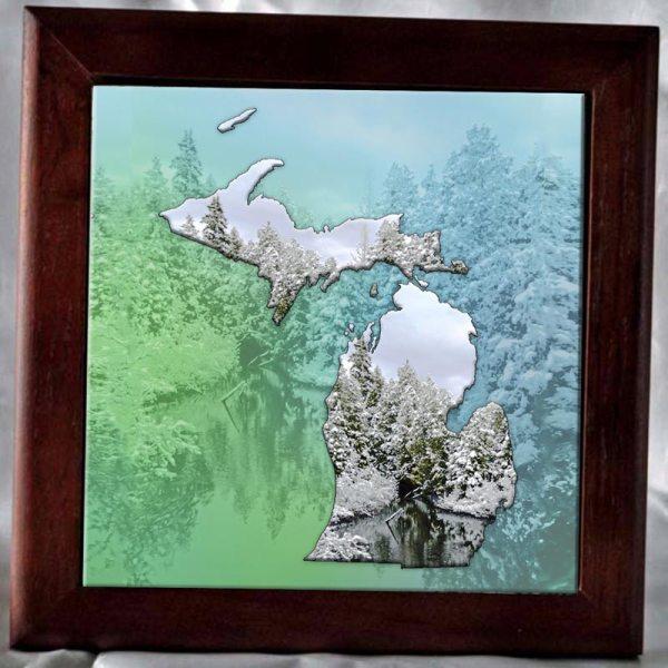 Framed Michigan Art Photo Tile