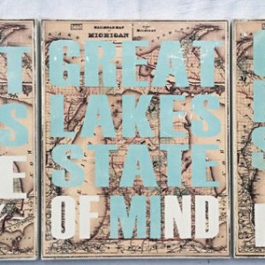 Great Lakes State of Mind Word Art Sign