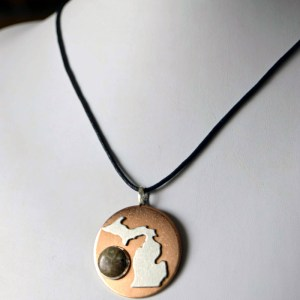 Petoskey Stone Silver Michigan Necklace