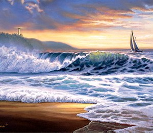 Beach Sunset Lighthouse Giclee Print on Wrapped Canvas by Artist Russell Cobane