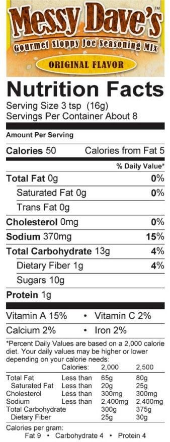Original Sloppy Joe Seasoning Mix Nutrition