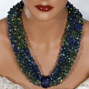 Green Blue Bead Scarf Necklace