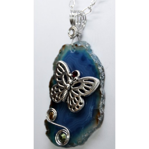 Blue Agate Slice Butterfly Pendant