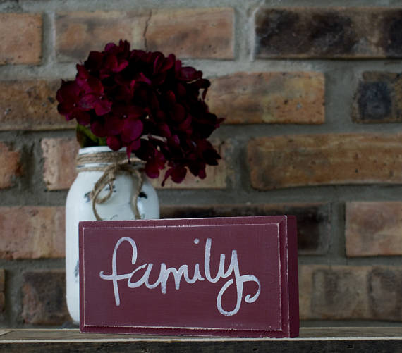 Rustic Red Rustic Shabby Chic Family Sign