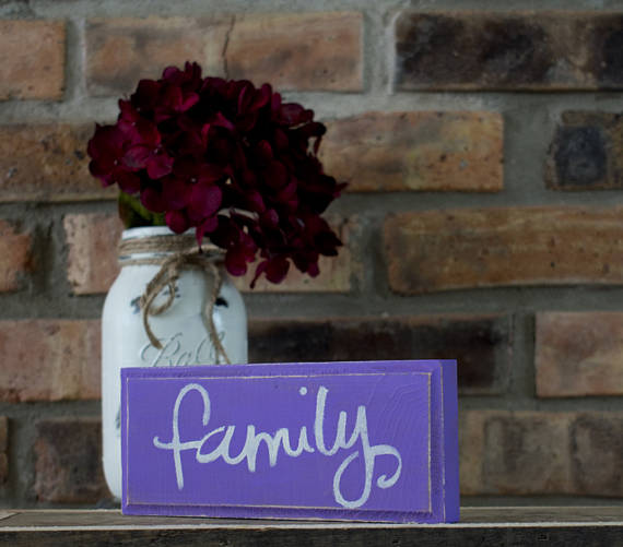 Purple Rustic Shabby Chic Family Sign