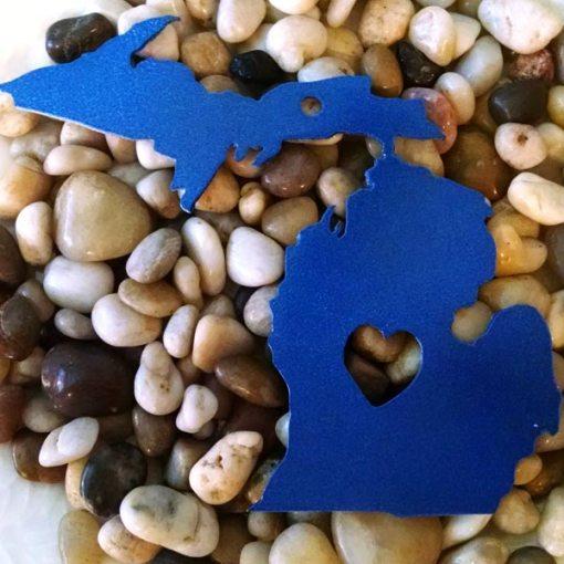 Blue Open Heart Michigan Ornament