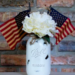 Patriotic Chalk Painted Jar