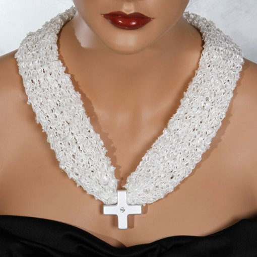 White Cross Bead Scarf Necklace