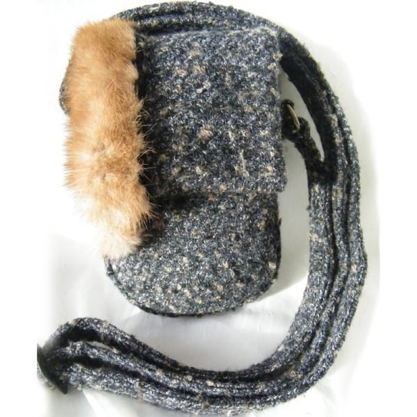Black Tweed Wool Mink Purse
