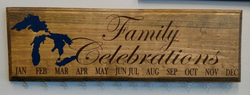 Family Celebration Board Brown Text Dark Blue Design