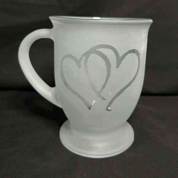 Engraved Coffee Mug Double Hearts