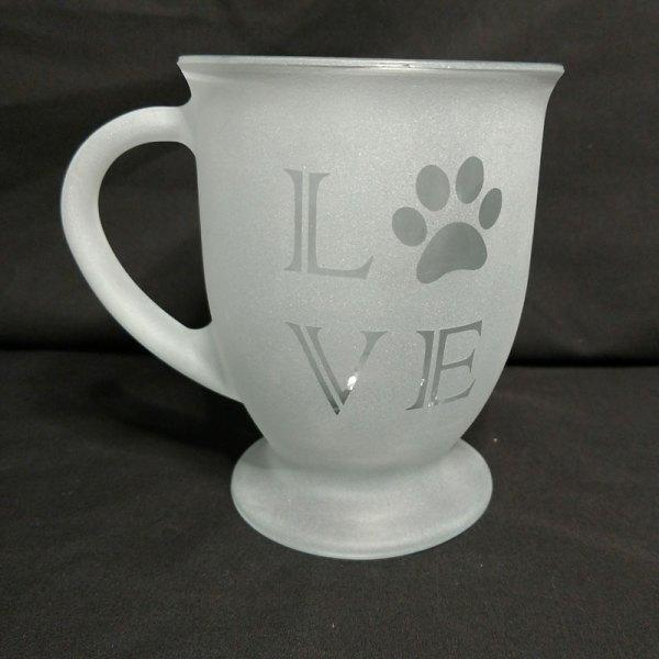 Engraved Coffee Mug LOVE Paw