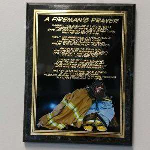 A Fireman's Prayer Engraved Plaque