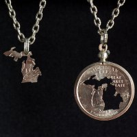 Michigan Quarter Inlay Necklace Set