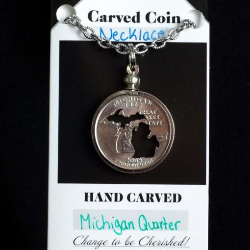 Michigan Silhouette Quarter Necklace
