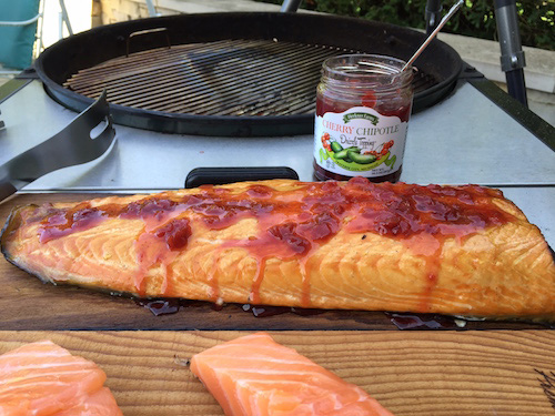 Cherry Chipotle Drizzle Topping on Salmon