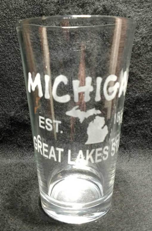 Engraved Michigan Pint Glass Michigan EST Great Lakes