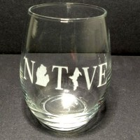 Engraved Stemless Wine Glass Michigan Native